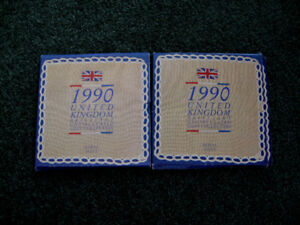 2 United Kingdom 1990 Uncirculated Coin Sets