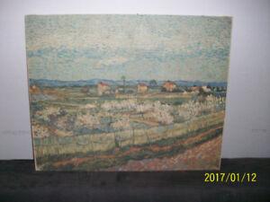 Toile VAN GOGH, 'Pêchers en fleurs' 1889, reproduction 1960.