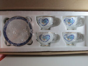 Pillsbury Doughboy Vintage 4 Cups & Saucers Set New
