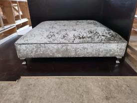 Extra large designer crushed velvet footstool