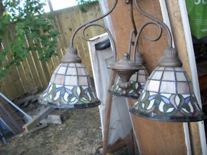 Triple Stained Glass Ceiling Light Fixture $65 OBO;
