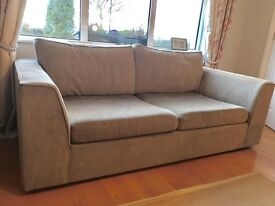 Grey three seater sofa and arm chair