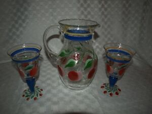 Pitcher and 2 glasses - hand painted glassware