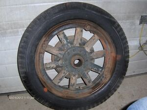 Old truck or car tire and rim
