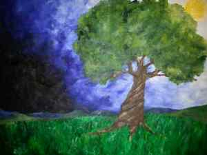"Oil Painting: Tree 14"" × 18"""