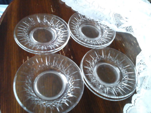 CRYSTAL DESSERT PLATES- SET OF 8 -  CROSS AND OLIVE  PATTERN