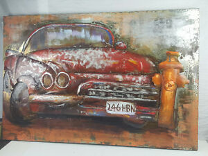 "3D Mixed Media Art Painting Painted On Metal Classic Car 47""x31"""