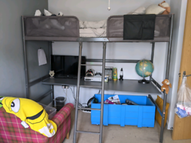 IKEA Tuffing children's high bed frame and desk