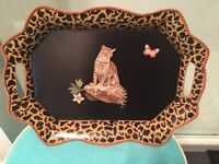 Metal tole tray with decoupage leopard and painted leopard trim