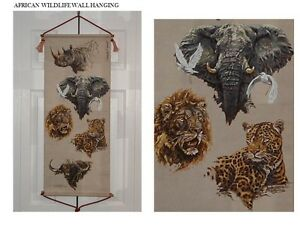 HAND PAINTED AFRICAN WILDLIFE WALL HANGING