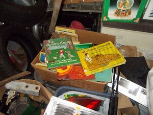 box of vintage mostly childrens books soft and hard cover