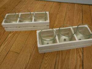 3 candle wooden votive holder
