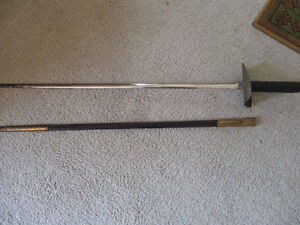Vintage Decoration Sword Replica--with Brass & Leather Scabbard