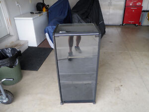 Component Stereo Cabinet with glass top and door on wheels