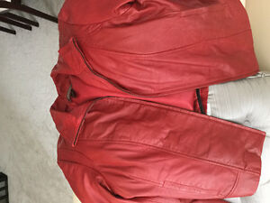 Soft beautiful and stunning red leather jacket. Ladies size XL