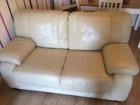 3 piece cream leather sofa set
