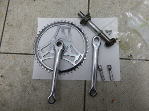 Vintage chrome cottered single speed crankset +BB axle+cups