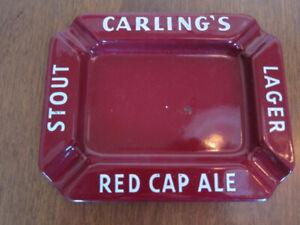 Cendrier en émail  de bière CARLING'S Red Cap Ale, Publicité