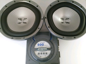 2 Sony xplod subwoofers and a Jensen amp