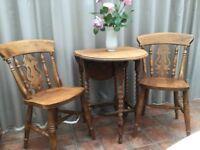 Rustic Antique oak table & two oak Harp back farmhouse chairs