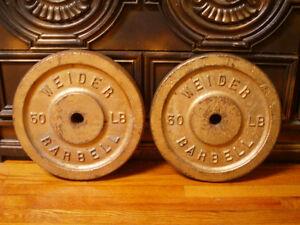 Weider iron weight plates / poids en fonte 2 x 50 lbs.