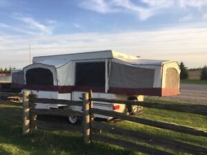 12 ' tent trailer with kitchen slide out .