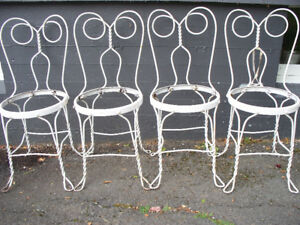4 Vintage Wrought Iron Ice-cream Parlor Chairs