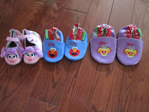 Sesame Street slippers three pair