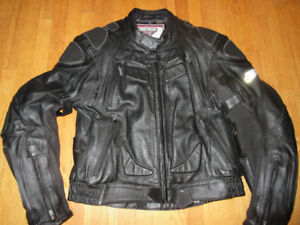 Hein Gericke Men's Size 48 Black Leather Motorcycle