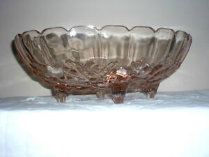 Oval Pink Glass Bowl with small Legs . Exc Condition