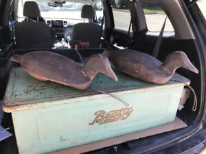 TWO LARGE VINTAGE WORKING DUCK DECOYS LEAD WEIGHTED