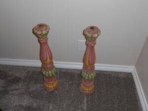 Unique wooden candle holders