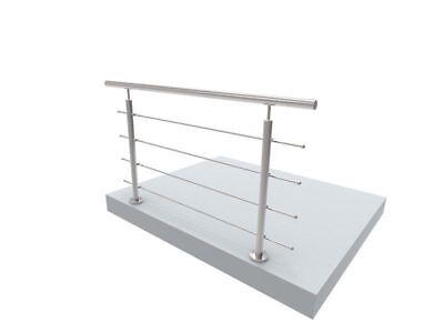 Handlauf Treppengeländer Brüstung Treppe Bausatz Edelstahl Bodenmontage 1,5m