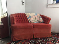 Vintage tufted velvet loveseat