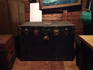 Antique Trunk with Matching Antique Suitcase.