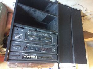 Record player/ cassette player /radio cabinet and speakers