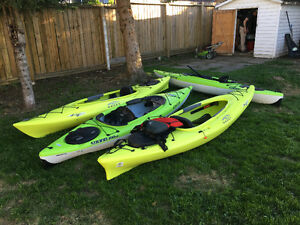 Kayak with Life Jacket and Paddles