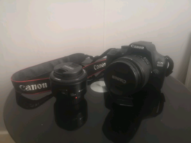 Canon 1300d dslr with lenses and tripod and other accessories