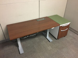 "Height Adjustable Desk 48"" x 24"" -Locking Mobile Cabinet & Power"