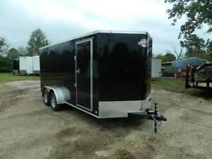 7 x 16 16ft Motorcycle UTV Bike Lawn Service Side Tool Enclosed Cargo Trailer
