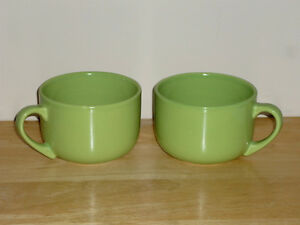 2 sage green Soup Mugs ... like NEW ... never used