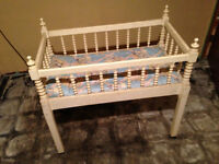 1930s Vintage Hand-Carved Wooden Baby Crib