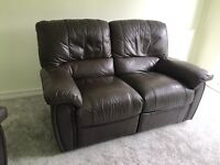 Leather 2 seater recliner sofa and armchair - excellent condition