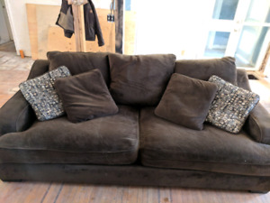 8' Brown microsuede couch