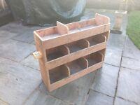 Van storage rack shelving, pigeon hole type