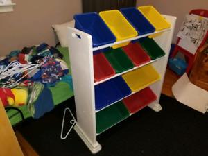 Kids bin shelf
