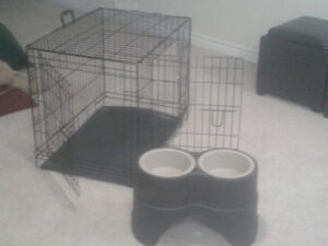 DOG CRATE AND RAISED DOG BOWLS