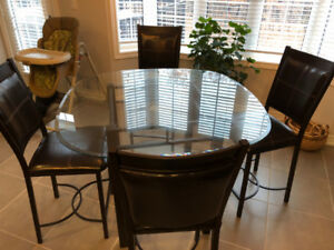 Glass Table + 6 chairs-Bar/Counter Height Bistro- great shape