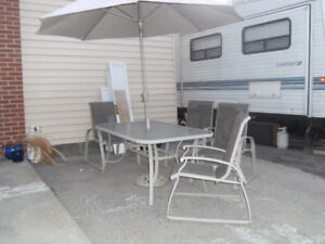 PATIO FURNITURE - TABLE,CHAIRS,UMBRELLA & STAND