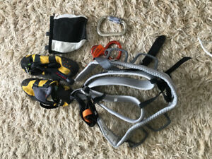CLIMBING GEAR, HARNESS, CHALK BAG, CARABINER AND FIGURE 8